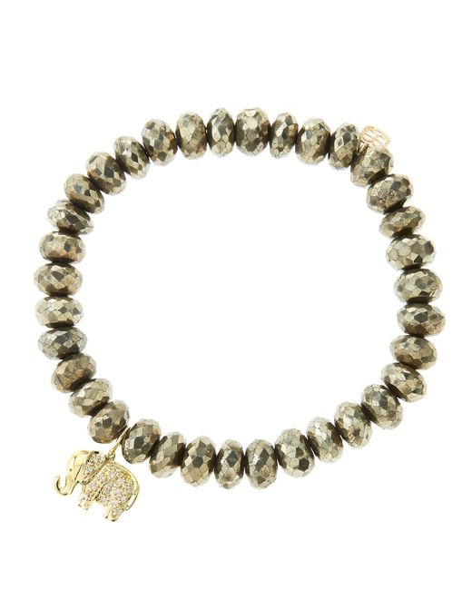 Sydney Evan | Metallic 8Mm Faceted Champagne Pyrite Beaded Bracelet With 14K Gold/Diamond Small Elephant Charm (Made To Order) | Lyst
