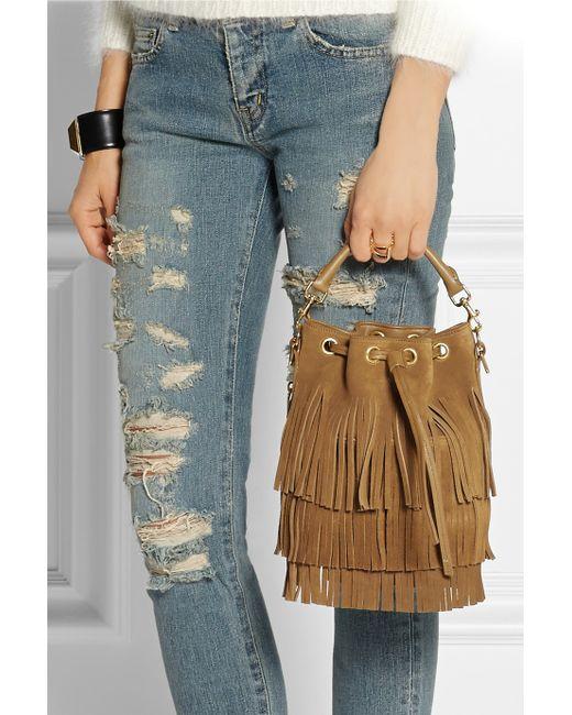 yve saint laurent bag - Saint laurent Emmanuelle Small Fringed Suede Cross-Body Bag in ...