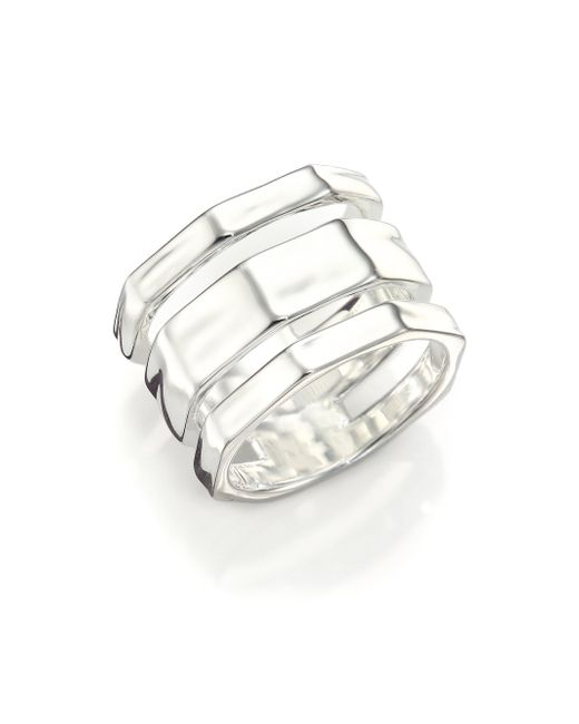 Ippolita | Metallic Glamazon Sterling Silver Textured Three-band Ring | Lyst