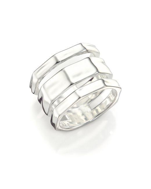 Ippolita | Metallic Glamazon Sterling Silver Textured Three-band Ring | Lyst