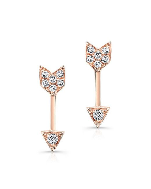 Anne Sisteron - Metallic 14kt Rose Gold Diamond Mini Arrow Stud Earrings - Lyst
