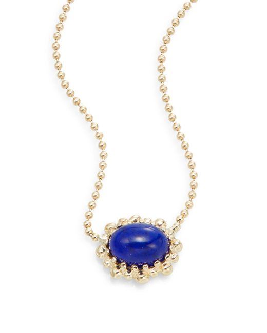 Anzie | Blue Dew Drop Lapis & 14k Yellow Gold Necklace | Lyst