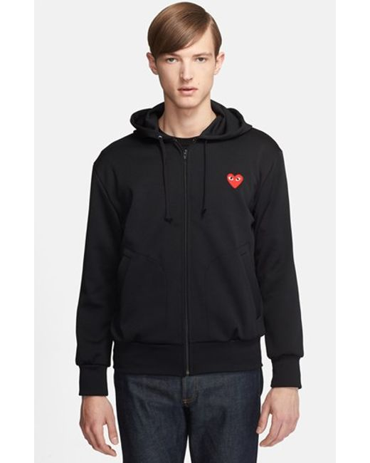 comme des gar ons 39 play 39 smooth zip hoodie in black for. Black Bedroom Furniture Sets. Home Design Ideas