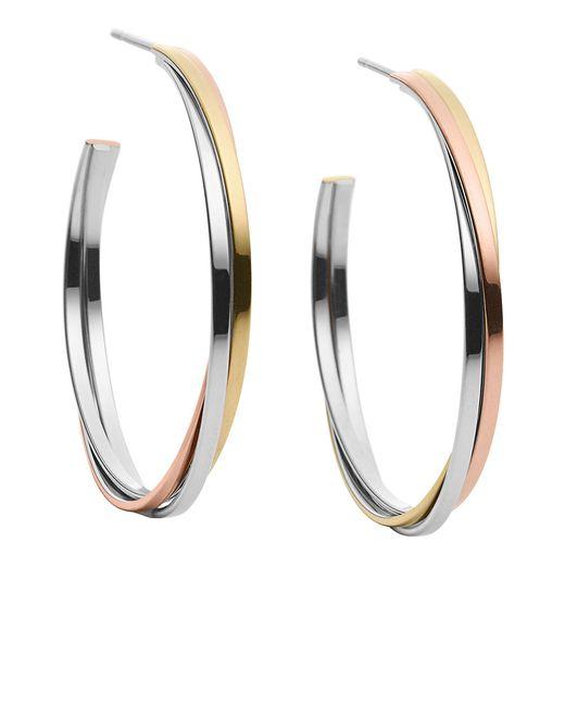 Michael Kors | Multicolor Medium Whisper Tri-tone Stacked Hoop Earrings | Lyst