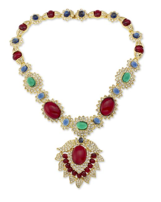 Kenneth Jay Lane | Green Ruby, Emerald, And Sapphire Necklace | Lyst