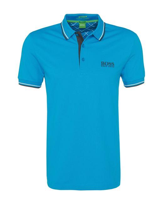 BOSS Green | Blue Plain-coloured Regular-fit Golf Polo Shirt In Piqué: 'paddy Pro' for Men | Lyst