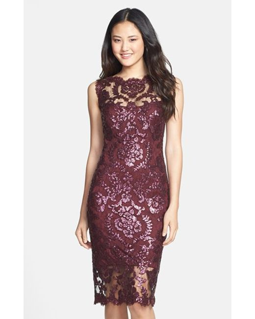 Tadashi Shoji | Purple Sequin Illusion Lace Dress | Lyst