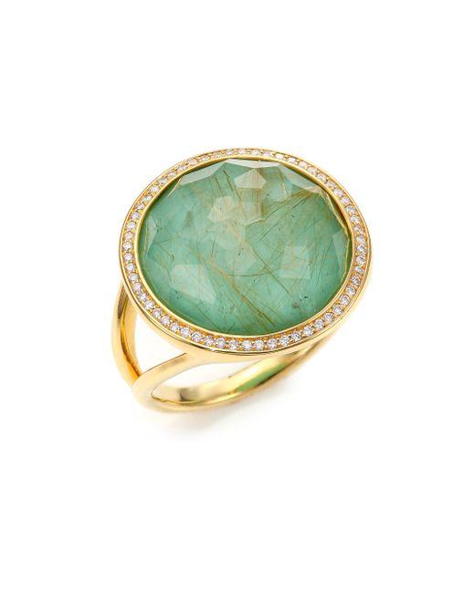 Ippolita | Metallic Rock Candy Turquoise, Rutilated Quartz, Diamond & 18k Yellow Gold Doublet Cocktail Ring | Lyst