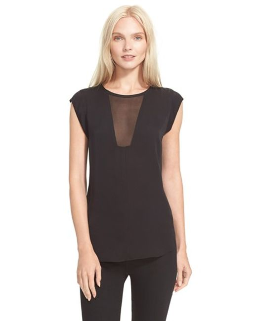 Rebecca Taylor | Black 'charlie' Sheer Inset Silk Top | Lyst