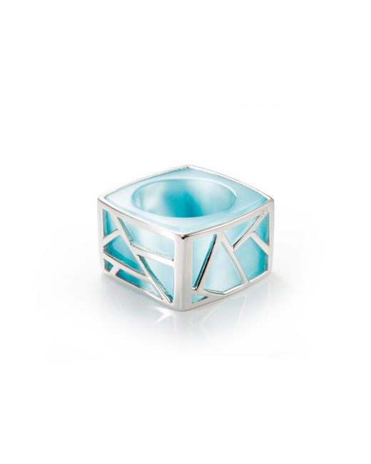 Ona Chan Jewelry | Metallic Square Cocktail Ring Blue | Lyst