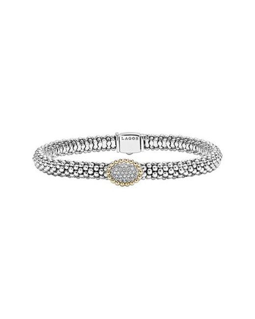 Lagos | Metallic Diamond Caviar Oval Bracelet | Lyst