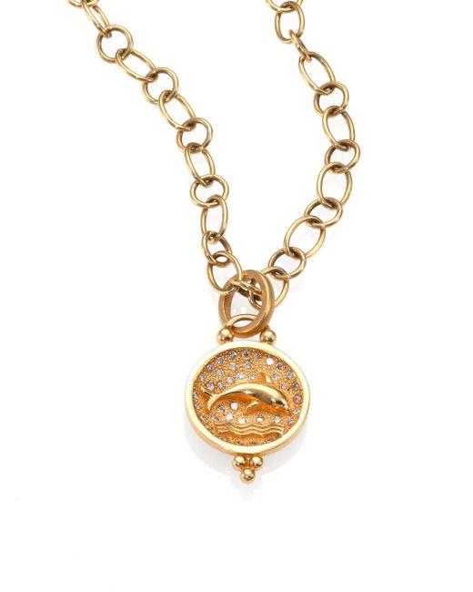 Temple St. Clair | Metallic Tree Of Life Diamond & 18k Yellow Gold Dolphin Pendant | Lyst