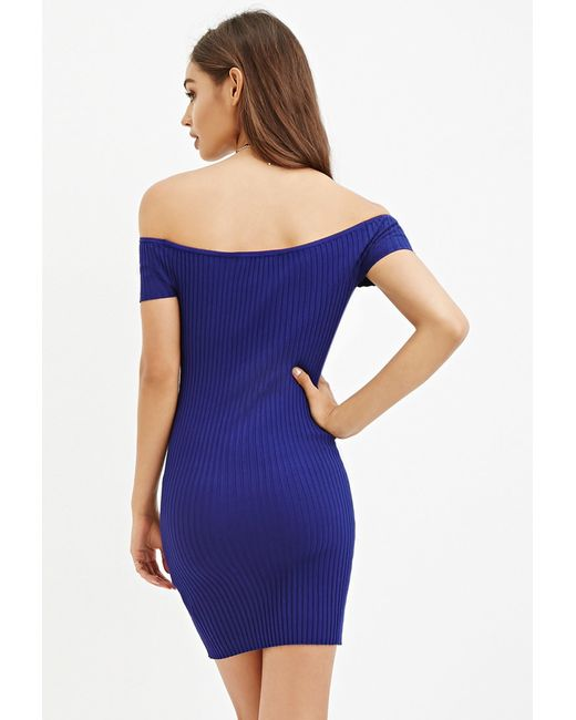 Forever 21 | Blue Off-the-shoulder Bodycon Dress | Lyst