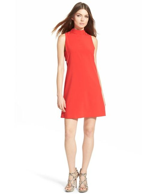4si3nna | Red 'side Bar' Mock Neck Shift Dress | Lyst