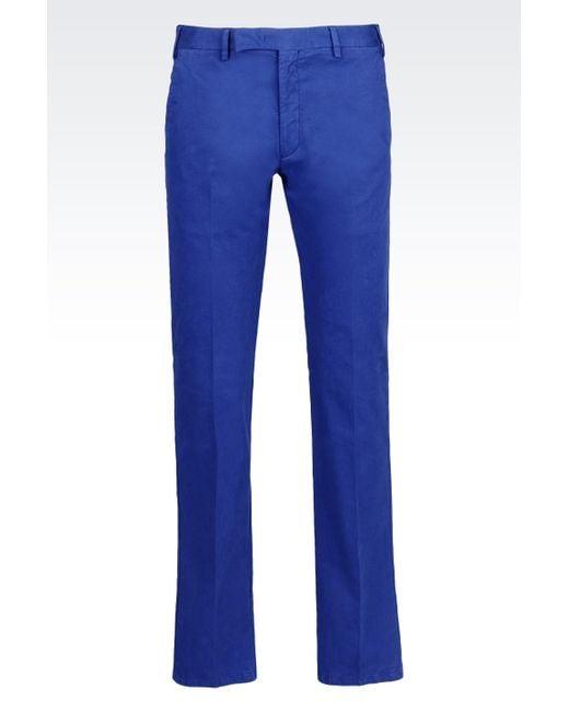 Armani | Blue Cotton Trousers for Men | Lyst