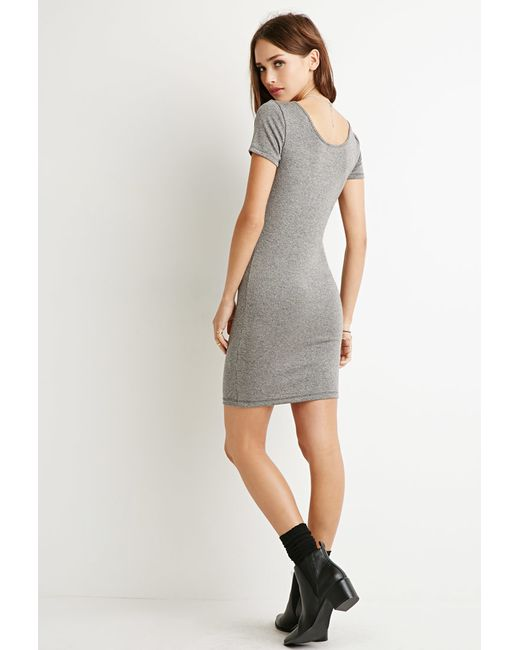 Forever 21 | Gray Ribbed Shift Dress | Lyst