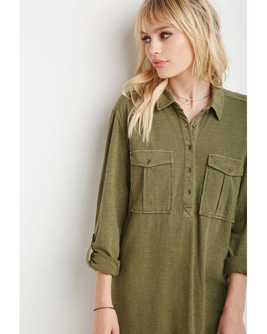 Forever 21 | Green Two-pocket Longline Shirt | Lyst