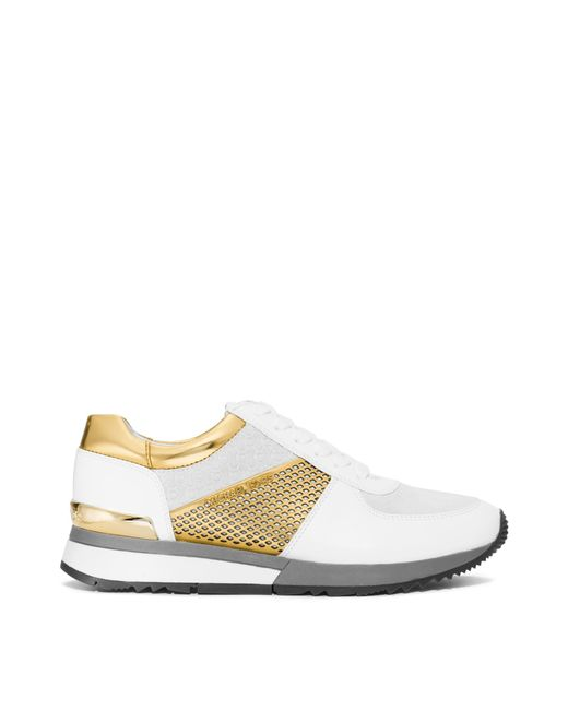 michael kors allie metallic trim leather sneaker in gold opt gold lyst. Black Bedroom Furniture Sets. Home Design Ideas