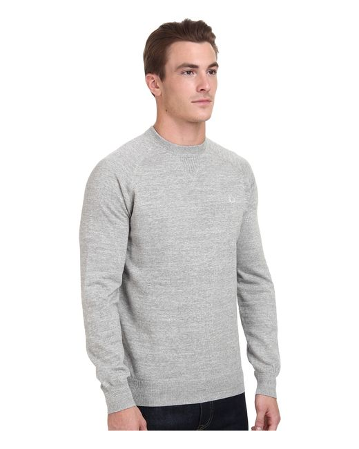 fred perry marl crew neck sweater in gray lyst. Black Bedroom Furniture Sets. Home Design Ideas