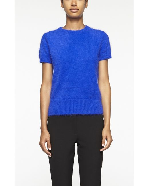 Nicole Miller | Blue Angora Short Sleeve Sweater | Lyst