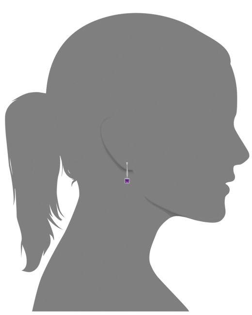 Macy's | Metallic Sterling Silver Earrings, Amethyst (6-3/4 Ct. T.w.) And Diamond (1/6 Ct. T.w.) Long Drop Square Earrings | Lyst