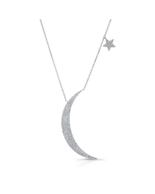 Anne Sisteron - Metallic 14kt White Gold Diamond Moon And Star Necklace - Lyst