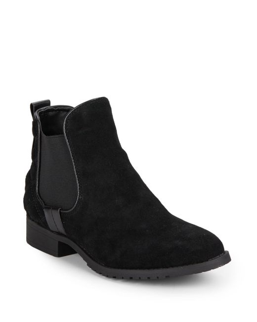 steve madden peyton quilted suede ankle boots in black