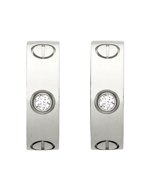 Cartier | Love 18ct White-gold Earrings | Lyst