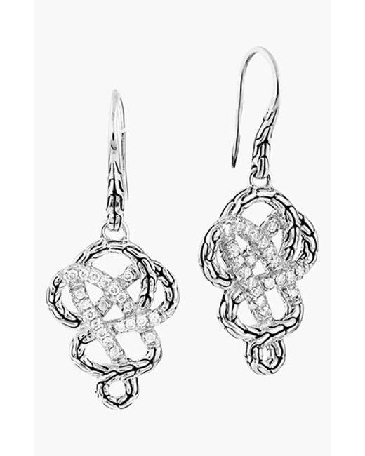 John hardy 39 classic chain 39 diamond pave braided drop for John hardy jewelry earrings