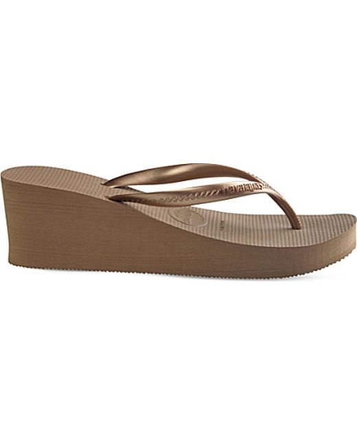 Havaianas High Fashion Wedge Flip-Flops In Gold Rose Gold  Lyst-1805