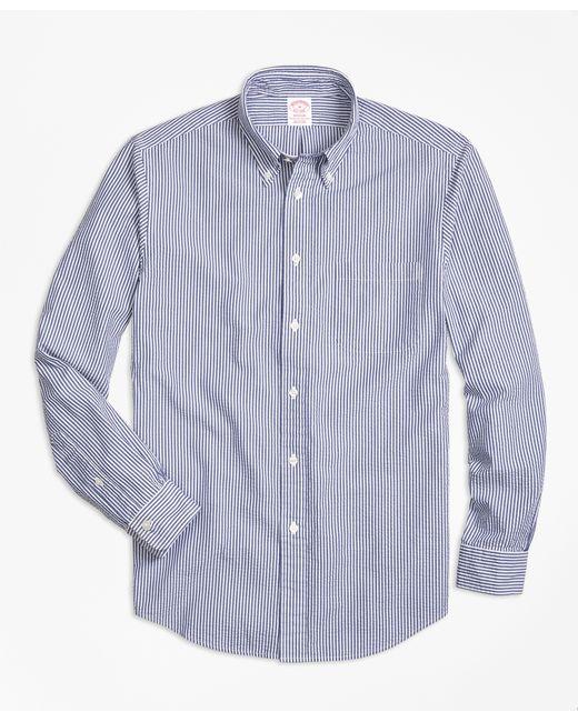 Brooks brothers madison fit stripe seersucker sport shirt for Brooks brothers sports shirts