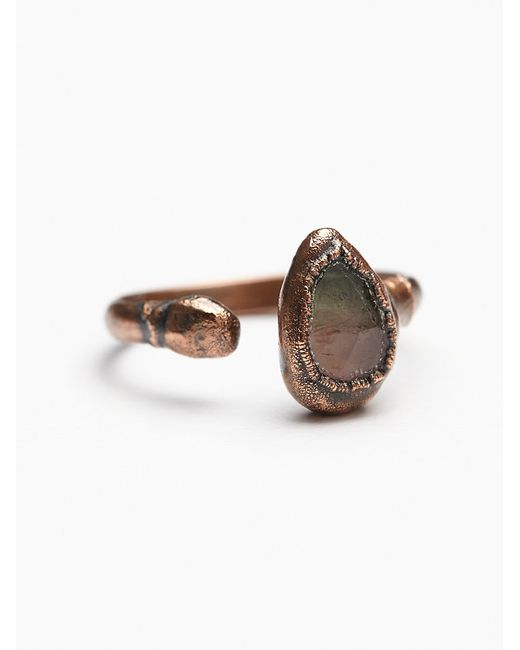 Free People | Metallic Droplet Tourmaline Ring | Lyst