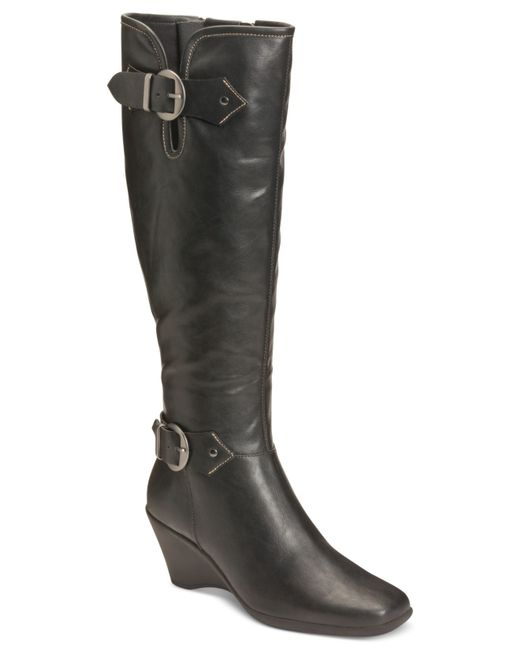 Aerosoles | Black Wonderful Tall Wedge Boots | Lyst