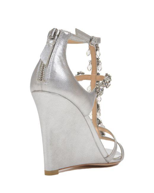 badgley mischka cashet ii metallic wedge evening shoe in