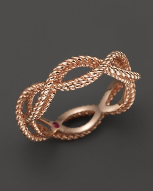Roberto Coin | Pink 18k Rose Gold Single Row Twisted Ring | Lyst
