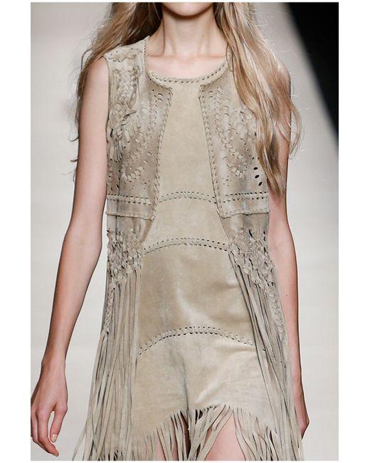 Alberta Ferretti | Natural Hippy Fringe Dress | Lyst
