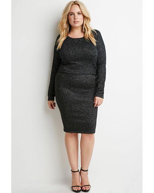 Forever 21 | Black Plus Size Metallic Ribbed Knit Skirt | Lyst