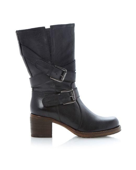 dune rocking block heel calf boots in black black leather