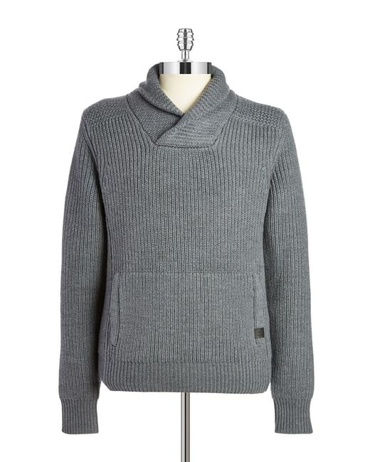 Victorinox | Gray Wool Shawl-collared Sweater for Men | Lyst