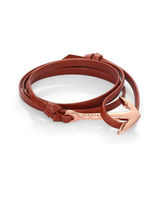 Miansai | Brown 18kt-rose Gold Plated Anchor  Leather Bracelet | Lyst