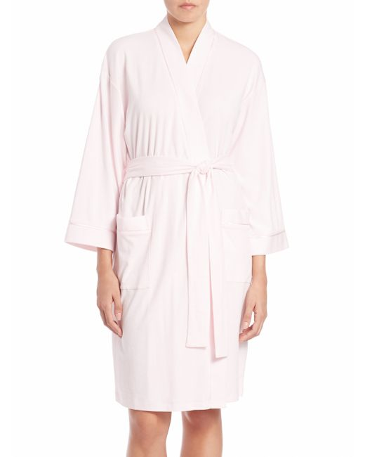 Saks fifth avenue pima cotton jersey robe in pink light for Saks 5th avenue robes de mariage