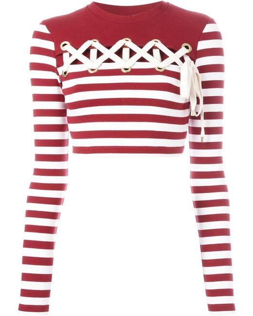 House Of Holland Striped Long Sleeve Cropped T Shirt In