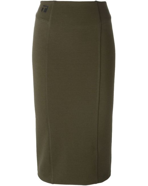 t by wang fitted midi skirt in green lyst