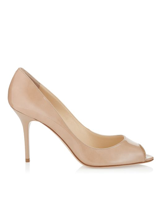 Jimmy Choo | Pink Evelyn Patent Leather Peep-toe Pump | Lyst