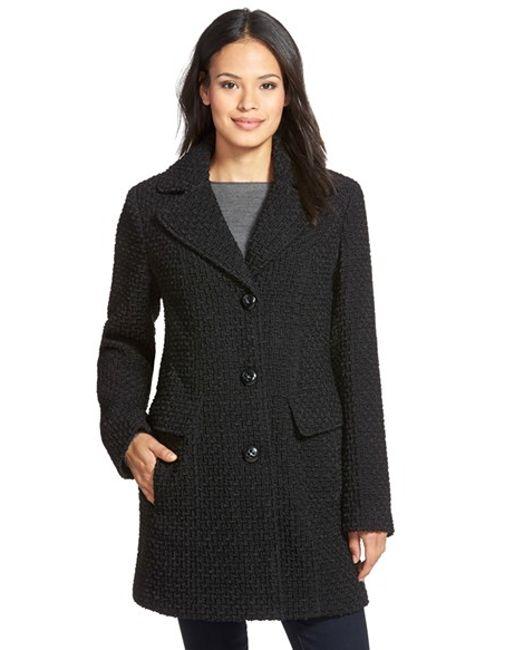 Gallery | Black Wool Blend Basket Weave Notch Collar Coat | Lyst