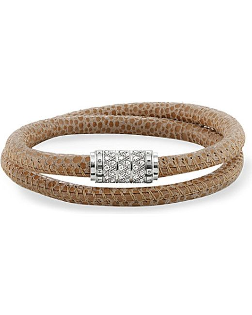 Thomas Sabo | Metallic Rebel At Heart Sterling Silver, Nappa Leather And Zirconia-pavé Bracelet | Lyst