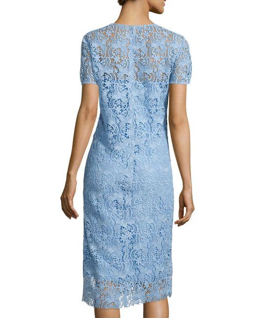 Nina ricci short sleeve lace midi dress in blue skyblu save 40