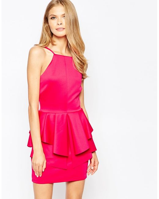 Oh my love square neck peplum dress in purple poppink