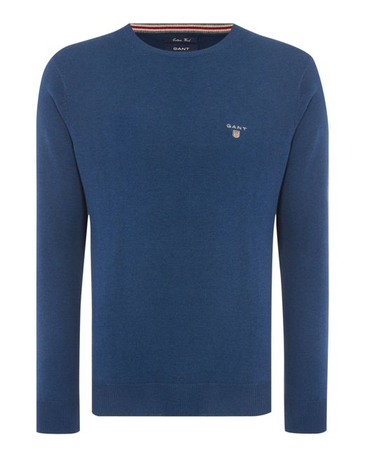 GANT | Blue Crew Neck Cotton Wool Jumper for Men | Lyst