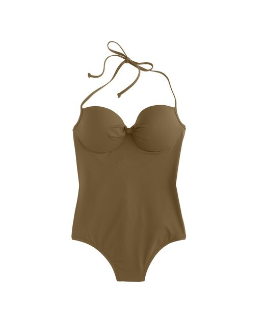 J.Crew | Green Dd-cup Italian Matte Knotted Underwire One-piece Swimsuit | Lyst